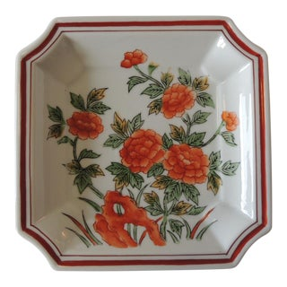 Vintage Orange and Green Ceramic Catchall Decorative Tray For Sale