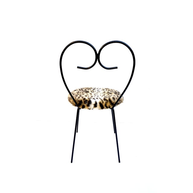 Mid-Century Heart Shaped Metal & Leopard Faux Fur Vanity Chair - Image 4 of 11