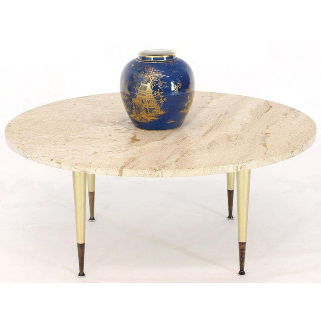 Italian Modern Round Travertine Top Coffee Table on Tapered Metal Legs Base For Sale - Image 9 of 11