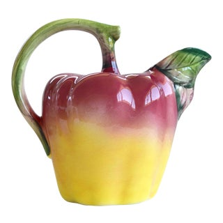 1960s Italian Hand Painted Ceramic Apple Pitcher For Sale