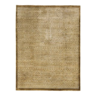 Green & Beige Khotan Rug - 9' X 12' For Sale