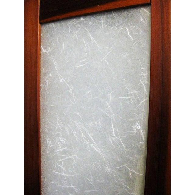 Textured Fiberglass and Teak Folding Screen For Sale - Image 4 of 5
