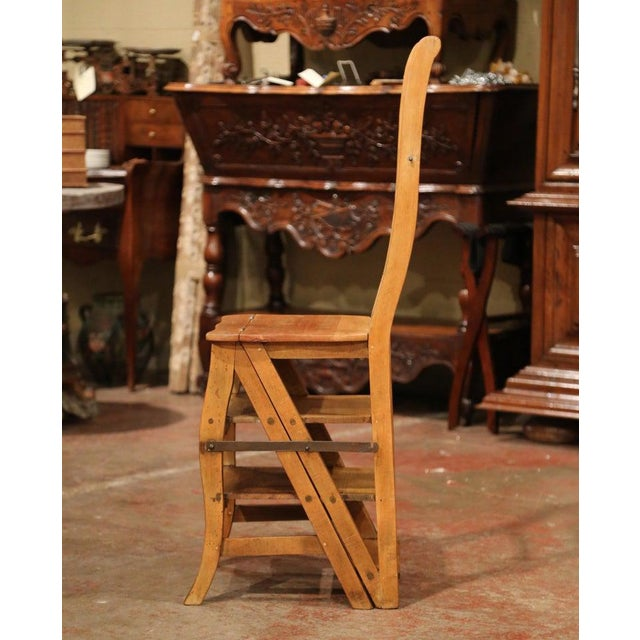 Early 20th Century French Carved Beech Folding Ladder Chair From Provence For Sale In Dallas - Image 6 of 7
