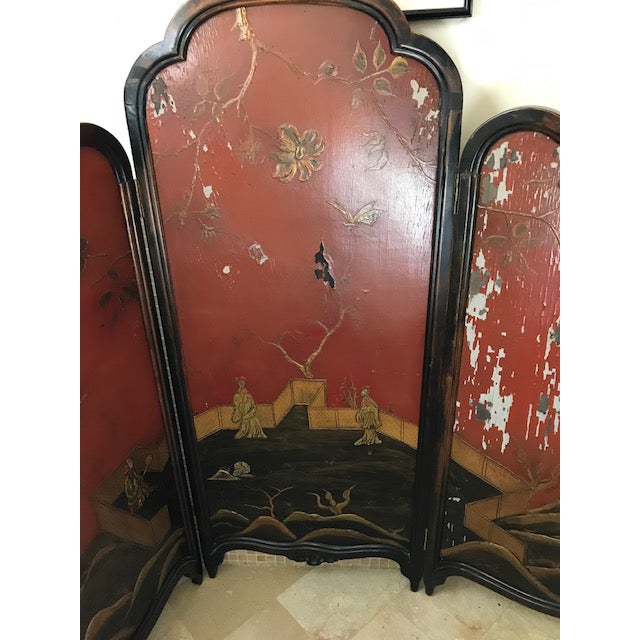 This one a kind Victorian Art Nouveau 3 panel screen is a great idea for an unusual Queen or King headboard. It has much...