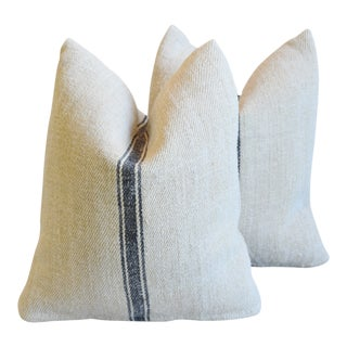 "Gray Striped French Farmhouse Grain Sack Feather/Down Pillows 18"" X 20"" - Pair For Sale"