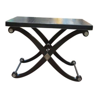 1990s Neoclassical Maitland-Smith X Base Bar Table/Console Table For Sale
