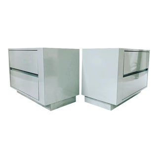 Modern Grey Lacquer Laminate Rectangular Nightstands - a Pair For Sale
