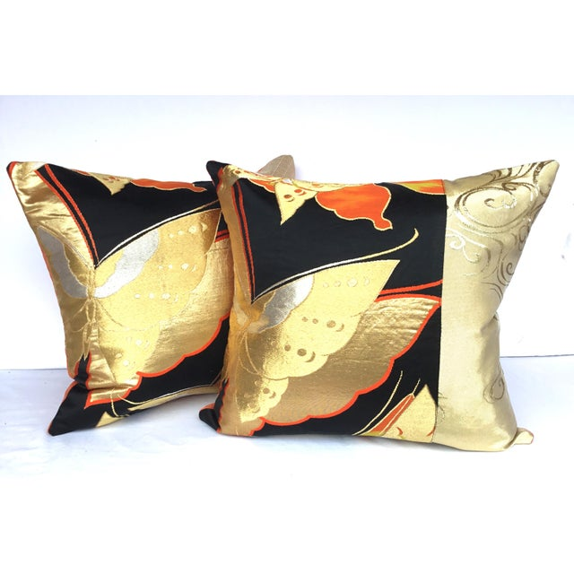 Vintgae Butterflies In Flight Japanese Obi Pillows - A Pair - Image 2 of 7