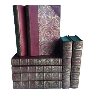 1890s Leather Bound Ainsworth Book Collection - Setof 8
