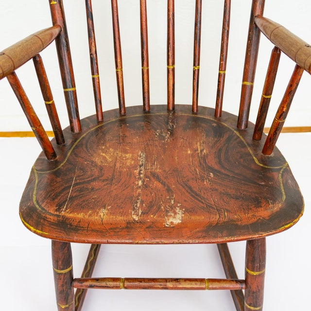 Grain Painted Spindle Back Rocking Chair | 19th Century Red Primitive Antique For Sale - Image 6 of 12