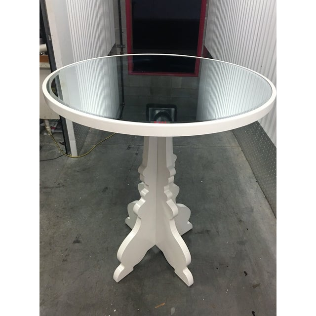 Round White Beveled Mirror Entry Table - Image 6 of 6