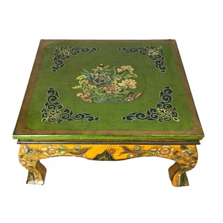 Asian Tibetan Hand-Painted Coffee Table For Sale