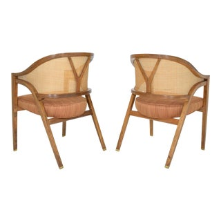 Dunbar Cane Back Lounge Chairs by Edward Wormley - a Pair