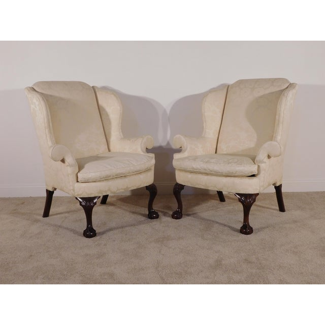 Kindel Winterthur Mahogany & Yellow Damask Easy Wingback Fireside Chairs - a Pair For Sale - Image 9 of 13