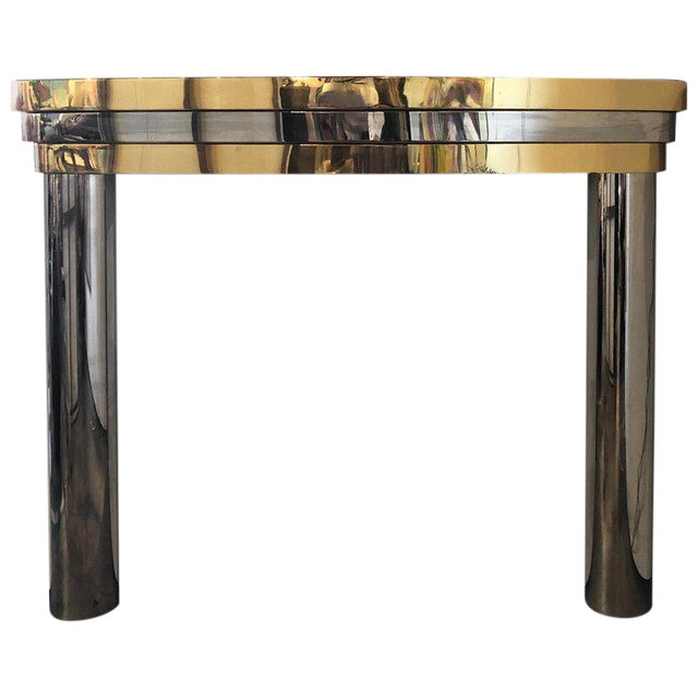Mid-Century Brass and Chrome Fireplace Mantel For Sale