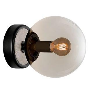 Lunar Single Wall Light - Satin Black and Smokey Glass