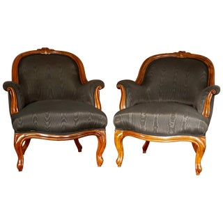 Pair of French Period Louis Philippe Walnut Armchairs Bergeres, 1840 For Sale