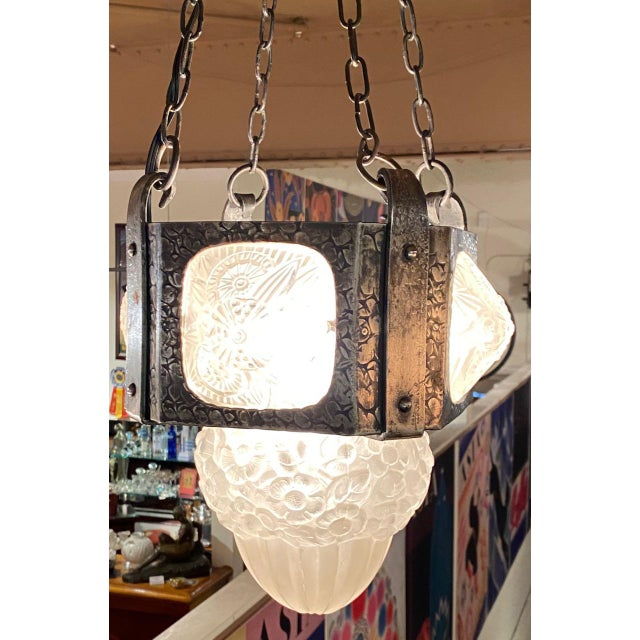 1920s French Iron Art Deco Hanging light with Muller Style Multiple Glass For Sale - Image 5 of 10