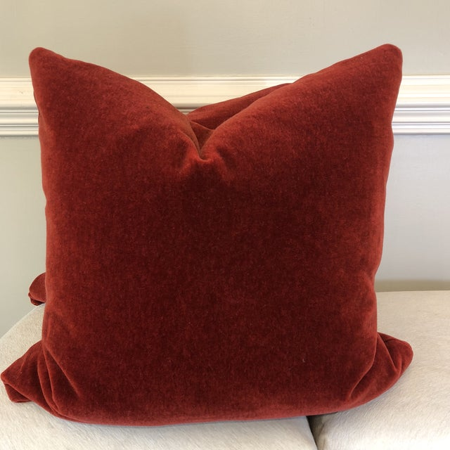"Brick Red Mohair 22"" Pillows-A Pair For Sale In Greensboro - Image 6 of 7"
