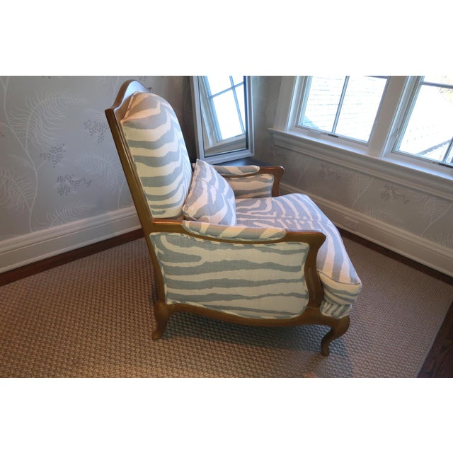 Henredon Henredon Club Chair With Cross Pattern Back For Sale - Image 4 of 12