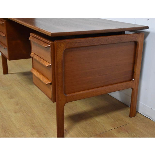 Danish Modern Danish Modern Teak Executive Desk by g.v. Gasvig For Sale - Image 3 of 11