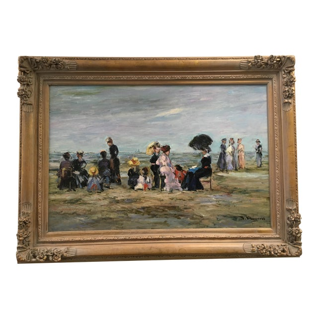 "Jacques Deveau ""Beach Scene"" Oil on Canvas Painting - Image 1 of 5"
