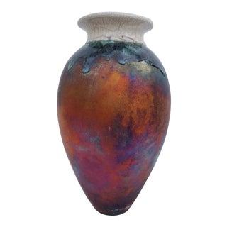 Vintage 1980s Studio Pottery Raku Vase