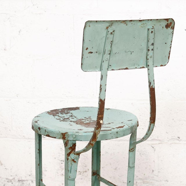 Vintage Industrial Rustic Green Bar Stool - Image 5 of 7