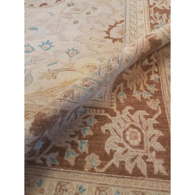 "1980s Kafkaz Peshawar Jasmine Ivory & Brown Wool Rug - 9'11"" x 13'9"" For Sale - Image 5 of 7"