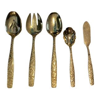 Gold Serving Utensils, S/5 For Sale