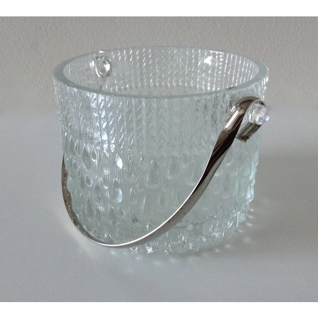 Vintage mid-century era French-made glass textured tear drop designed ice bucket with handle. Marked on underside glass...