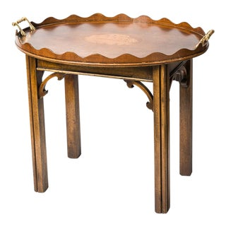 English Buttler Tray Table on Stand With Inlaid Shell For Sale