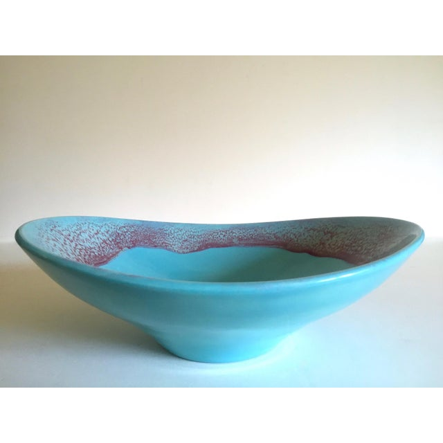Blue Vintage Mid Century Modern Studio Pottery Aqua Blue Drip Glaze Oval Ellipse Ceramic Pedestal Bowl For Sale - Image 8 of 13