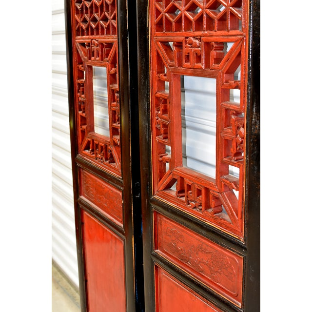 Asian Antique Chinese Red and Black Screens - a Pair For Sale - Image 3 of 13