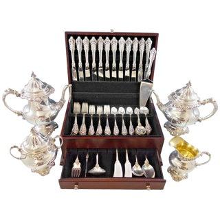 Grande Baroque by Wallace Sterling Silver Flatware Set 12 Dinner Size + Tea Set For Sale