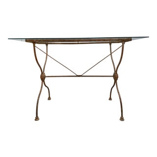 Antique French Metal Base Writing Desk For Sale