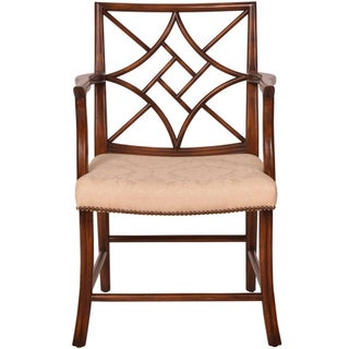 Solid Walnut Fretwork Arm Chair For Sale