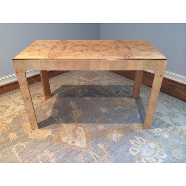 Gorgeous vintage burlwood desk by Henredon. Perfect condition with a functioning drawer.