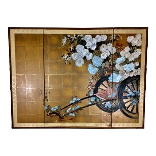 Vintage 3 Panel Flower Cart Theme Byobu Temple Screen For Sale