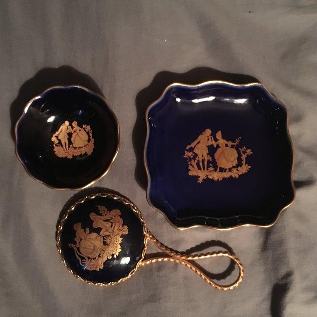 Vintage Cobalt Blue Limoges Pocelain D'Art Vanity Set For Sale - Image 13 of 13