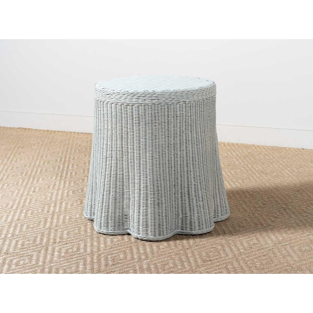 2010s New Round Scalloped and Painted Wicker Side Table For Sale - Image 5 of 5