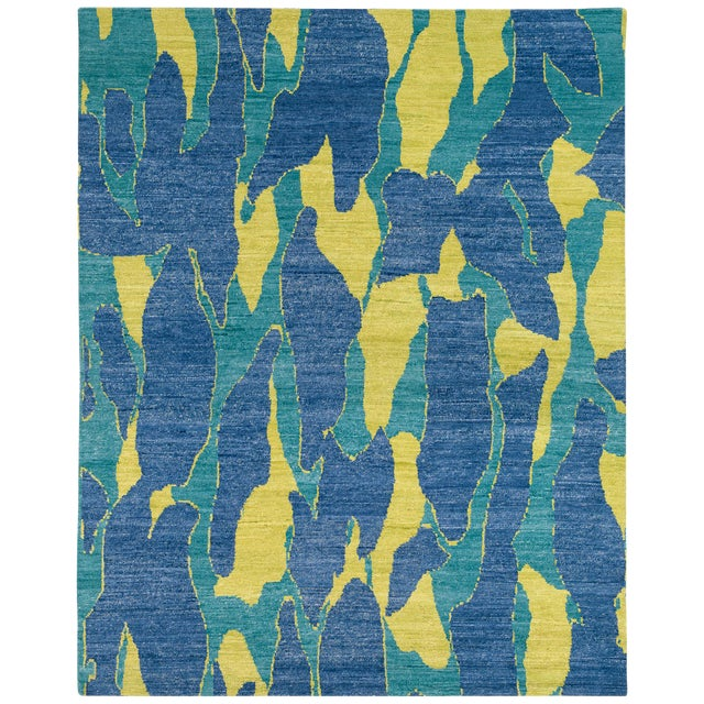 Carini Blue and Chartreuse Camouflage Print Area Rug - 8′ × 10′ For Sale
