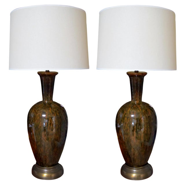 Large-Scaled Pair of American 1960s Forest-Green and Amber Drip Glazed Lamps For Sale