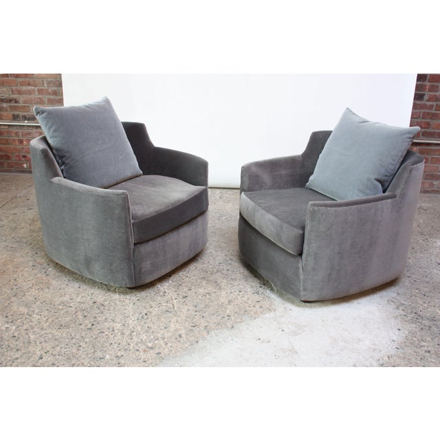 Mid-Century Modern Mid-Century American Modern Tub Chairs in Mohair and Velvet For Sale - Image 3 of 13