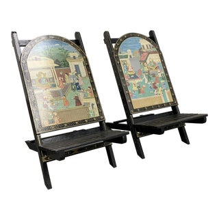 Hand Painted Village Scene Folding Chairs - a Pair For Sale