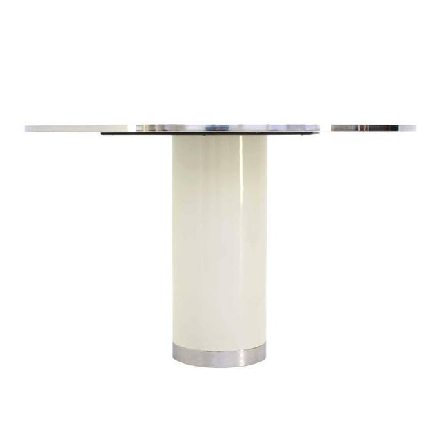 Mid-Century Modern Mid-Century Modern Heavy Enameled Metal Base and Top Round Gueridon Dining Table For Sale - Image 3 of 6