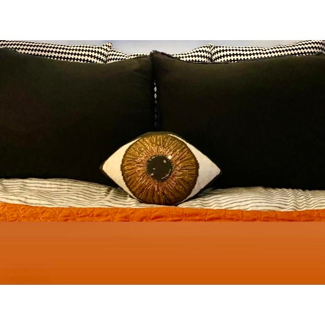 Custom Made Brown Eye Sculpted Pillow For Sale - Image 4 of 11