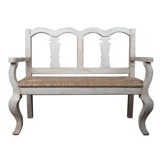 Mexican Pine Bench With Rush Seat For Sale