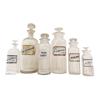 Set of 6 Antique Apothecary Jars For Sale
