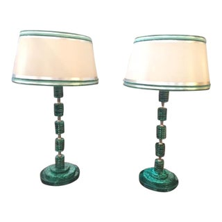 1980s Vintage Malachite & Nickeled Lamps - A Pair For Sale